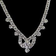 Vintage Rhinestone Necklace. Clear Rhinestones Choker Necklace. Formal. Wedding. Bridal.