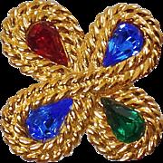 Vintage Jeweled Rhinestone Brooch. Braided Gold Tone Blue Green Red Rhinestone Pin.