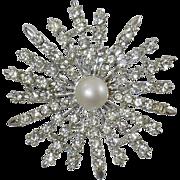 Vintage Judy Lee Rhinestone Brooch. Silver Plated Clear Rhinestone Pin. Starburst Rhinestone Brooch.