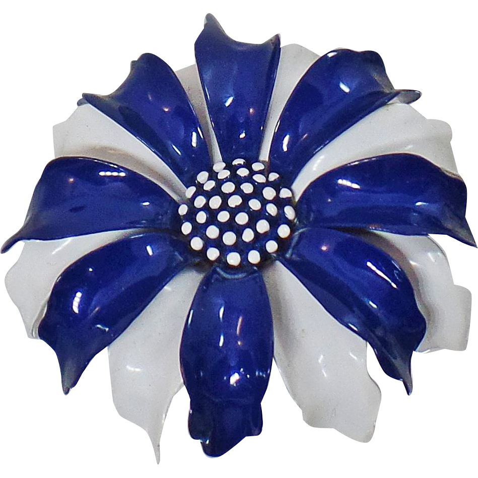 Vintage Trifari Flower Brooch. Blue White Enamel Flower Pin. Trifari Flower Pin.