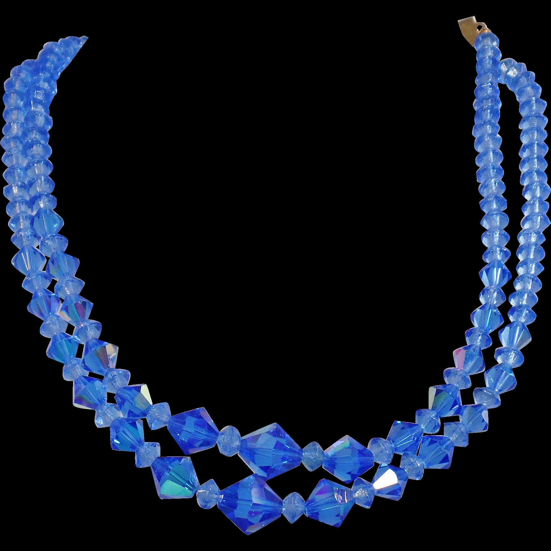 Vintage Blue Austrian Crystal Necklace. Blue AB Austrian Crystal Glass Choker Necklace.