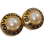 Vintage Rare Givenchy Paris Pearl Earrings. Large Mabe Pearl Givenchy Paris Signed Earrings.