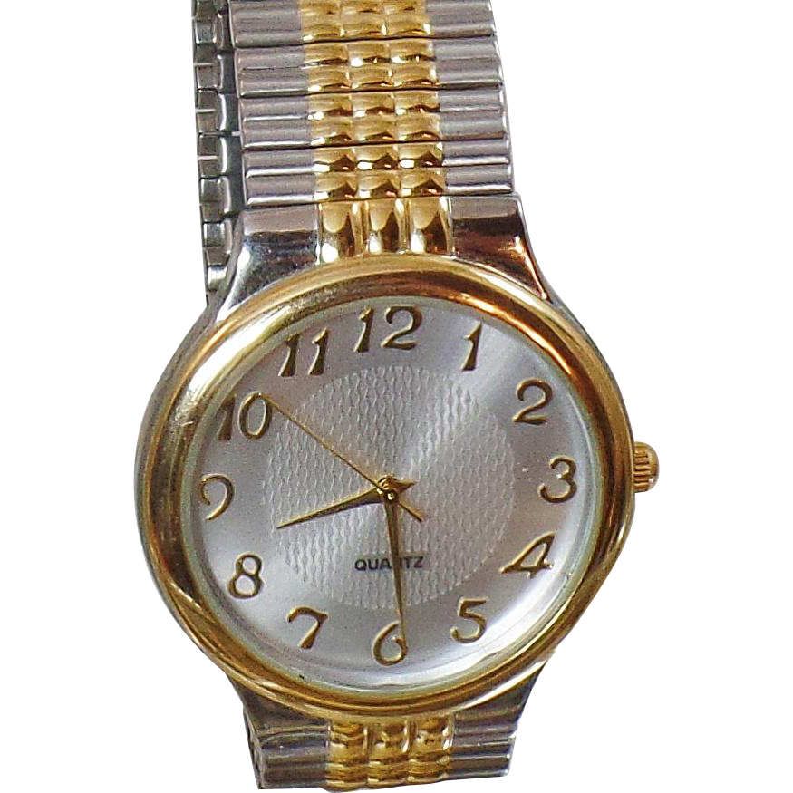 Vintage M Z Berger Men's Watch. Gold and Silver Tone. Silver Face. Stretch Band Watch.