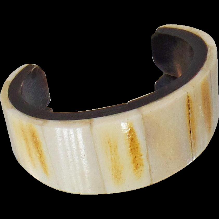 Vintage Bone and Ebony Horn Cuff Bracelet. African Tribal Bone Cuff Bracelet.
