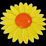Vintage Large Flower Brooch. Big Yellow Orange Flower Power Pin. Enamel Flower Brooch.