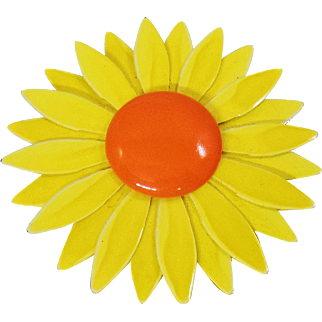 Vintage Large Flower Brooch. Big Yellow Orange Flower Power Pin. Enamel Flower Brooch.