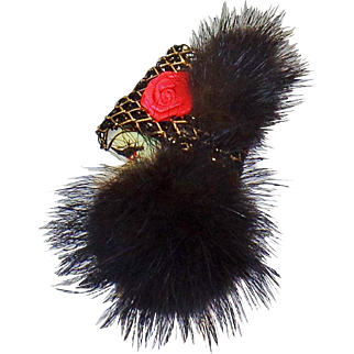 Vintage Mink Face Brooch. Genuine Mink Hat and Scarf with Black & Gold Lace Hat with Red Ribbon Rose Lady Brooch. Mink Lady Pin.