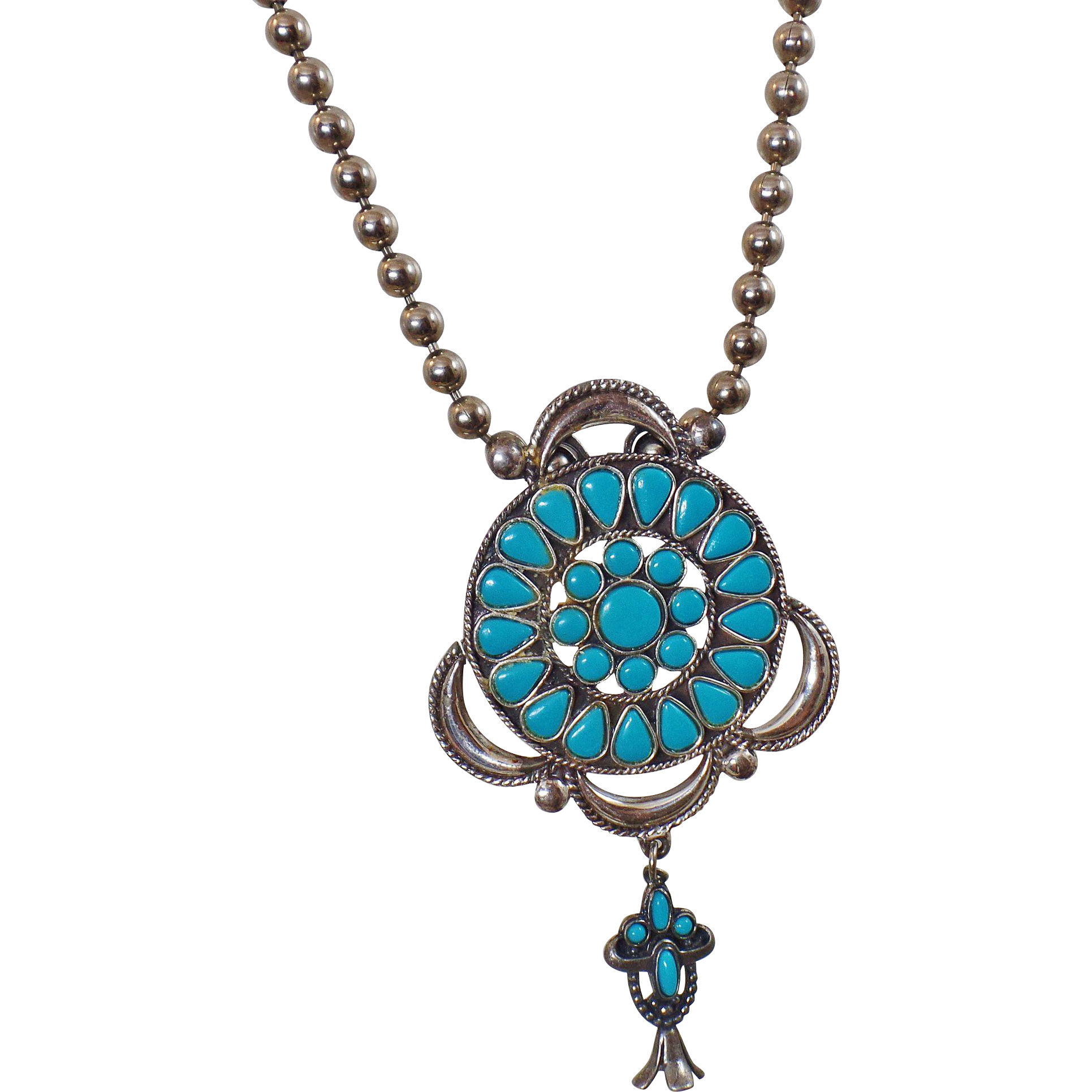 Vintage Petit Point Turquoise Necklace. Silver Plated Faux Turquoise Bead Necklace. Squash Blossom Necklace.