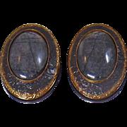 Vintage Gray Tourmaline Earrings. Copper Gray Tourmaline Earrings
