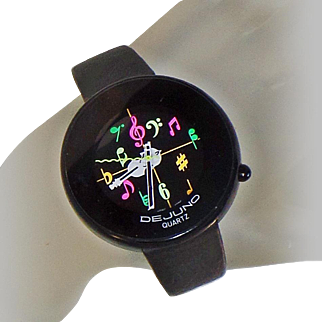 Vintage De Juno Musical Violin Watch. Black Leather DeJuno Music Watch. Ladies Black Watch.