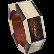Vintage Bone and Ebony Wood Bangle Bracelet. African Tribal Bone Bangle Bracelet.