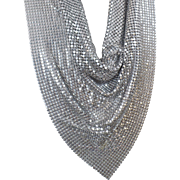 Vintage Silver Mesh Bib Necklace. Silver Mesh Scarf. Chain Maille Necklace