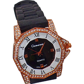 Vintage Copper Rhinestone Watch. Geneva. Women's Watch. Black and Copper Rhinestone Watch.