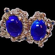 Vintage Judy Lee Blue Rhinestone Earrings. 1960s Blue Glass Cabochon Rhinestone Clip On Earrings.