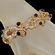 Vintage Kramer Rhinestone Bracelet. Gold Plated Clear and Black Rhinestone Leaf Bracelet. Link Bracelet.
