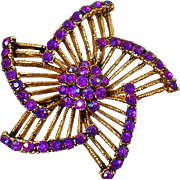 Vintage Pinwheel Brooch. Purple AB Rhinestone Pinwheel Flower Pin. Gold Purple Fuchsia Pinwheel Blossom Brooch.