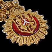 Vintage Coat of Arms Medallion Necklace. Knight Lion Fleur de Lis Shield. Family Crest Necklace.