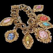 Vintage Confetti Charm Bracelet. Confetti Lucite Stone Bracelet.