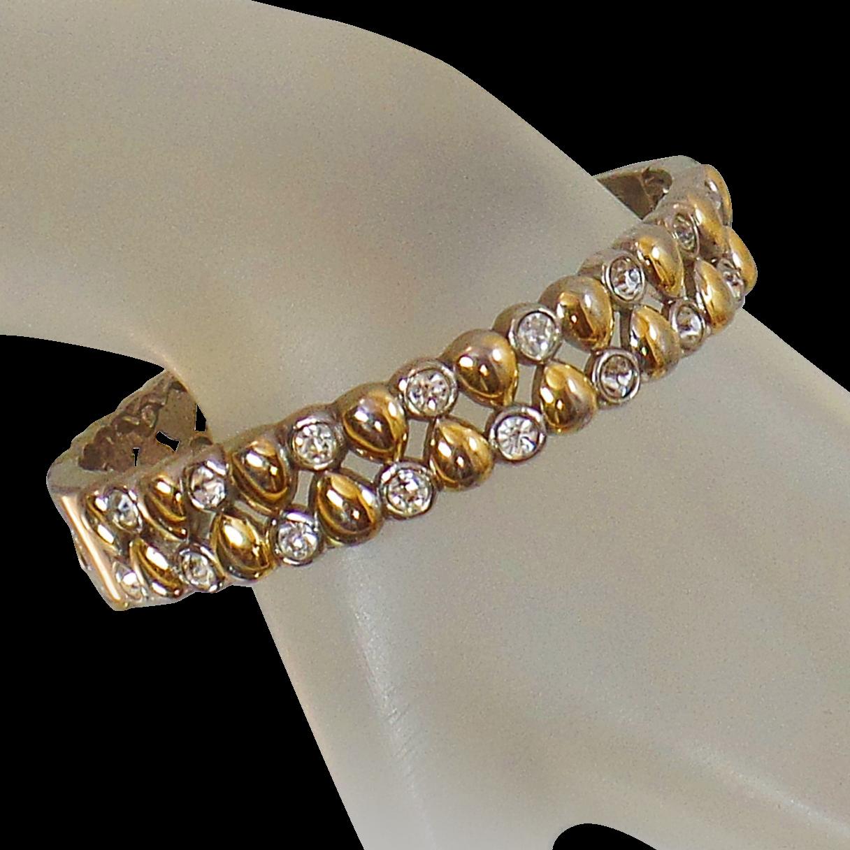 Vintage Silver Gold Rhinestone Clamper Bracelet. Gold Silver Tone Rhinestone Hinged Clamper Bangle.