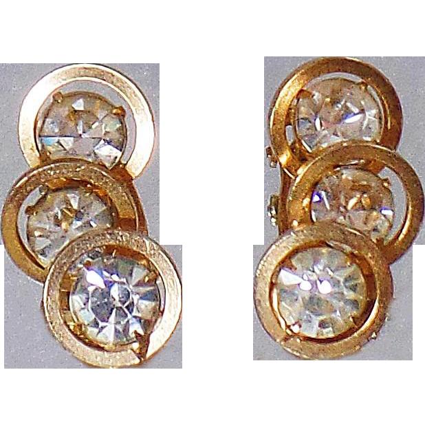 Vintage Judy Lee Rhinestone Earrings. Gold Plated Ear Climber Rhinestone Earrings. Gold Circles Rhinestone Earrings