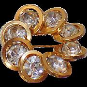 Vintage Judy Lee Rhinestone Brooch. Gold Plated Circle Rhinestone Pin. Gold Circles Rhinestone Brooch.