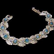 Vintage Blue Moonglow Leaf Bracelet. Judy Lee. Pale Blue Moonglow and Silver Leaf Bracelet.