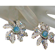 Vintage Blue Moonglow Leaf Earrings. Judy Lee. Pale Blue Moonglow and Silver Leaf Earrings.