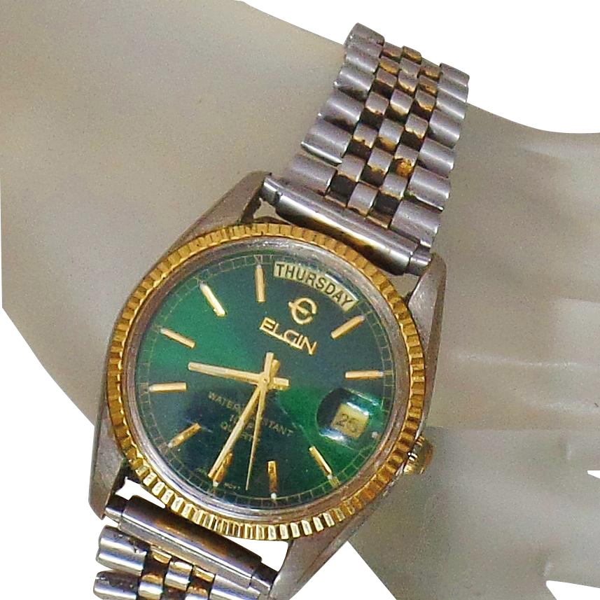 Vintage Elgin Homage Datejust Men's Watch. Rare Elgin Green Face Silver and Gold Men's Watch.