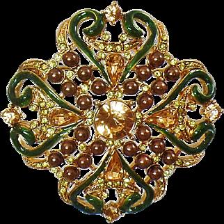 Vintage Ornate Rhinestone Brooch. Enamel Rhinestones Pearls Cluster Pin. Victorian Revival Brooch.