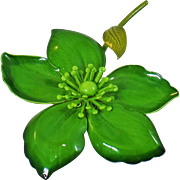Vintage Large Green Flower Brooch. Bright Green Enamel Flower Power Pin.