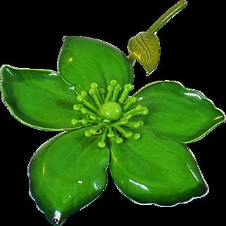 Vintage Large Green Flower Brooch. Bright Green Enamel Flower Power Pin.