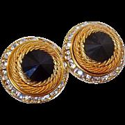 Vintage Rivoli Rhinestone Earrings. Channel Set Black Clear Rhinestone Earrings. Bold Gold Earrings.