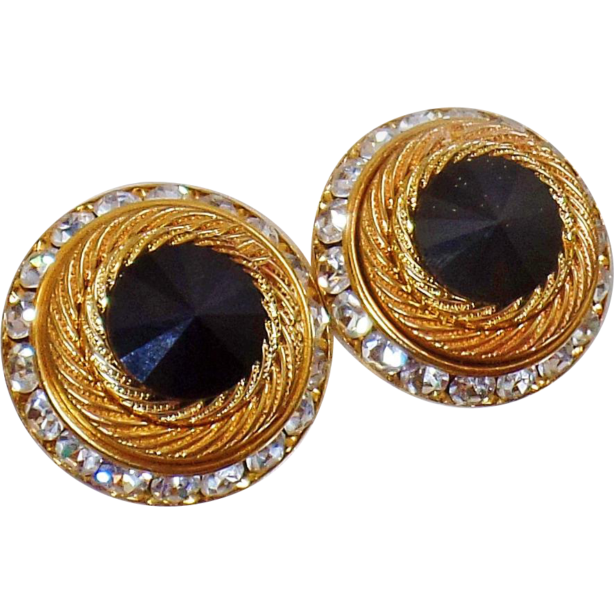 Vintage Rivoli Rhinestone Earrings. Channel Set Black Clear Rhinestone Earrings. Bold Gold Earrings.