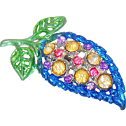 Vintage Painted Pot Metal Rhinestone Brooch. Pot Metal Hand Painted Rhinestone Leaf Pin.