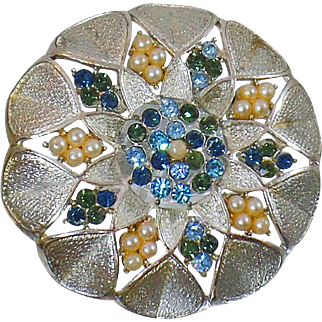 Vintage Silver Rhinestone Brooch. Blue and Green Rhinestone and Pearl Brooch. Silver Rhinestone and Pearl Pin.