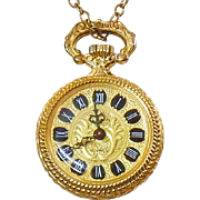 Vintage 17 Jewel Ladies Watch Pendant. Clama Swiss Movement Ladies Watch Necklace. Vintage Gold Watch Pendant.