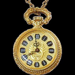 Vintage 17 Jewel Ladies Watch Pendant. Clama Swiss Movement Ladies Watch Necklace. Vintage Gold Watch Pendant.