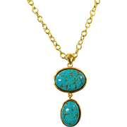 Vintage Dyed Turquoise Necklace. Turquoise Blue Howlite Bead Necklace.
