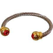 Vintage Silver Cable Bracelet. Silver and Gold Twisted Wire Cuff with Red Accents.