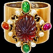 Vintage Rare Oscar de la Renta Bold Gold Clamper Bracelet. Molded Stone and Pearl Clamper Cuff Bracelet.