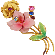 Vintage Austrian Flower Brooch. Pink Gold Flower Pin. Made in Austria Rhinestone Brooch.