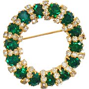 Vintage Emerald Green D&E Brooch. Juliana Green and Clear Rhinestone Circle Pin. Delizza and Elster Emerald Green Rhinestone Wreath Brooch.