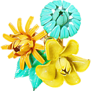 Vintage 3 Flower Brooch. Yellow Aqua Blue Orange Flower Pin. 3 Dimensional 70s Flower Power Pin.