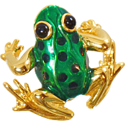 Vintage Green Frog Brooch. Green Enamel Frog Pin.