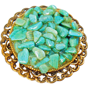 Vintage Turquoise Nugget Brooch. Large Turquoise Stone Pin. Blue Turquoise Nugget Pin.