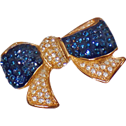 Vintage Blue Clear Rhinestone Bow Brooch. Roman. Large Rhinestone Ribbon Pin. Gold Plated Blue and Clear Rhinestone Brooch.