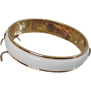 Vintage White and Gold Bracelet. Monet. White Enamel Gold Bracelet.