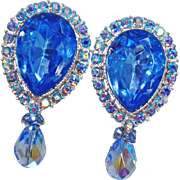 Vintage Showstopper Large Light Blue Topaz Rhinestone Earrings. Blue Topaz Rhinestone Earrings with Austrian Crystal Dangle.