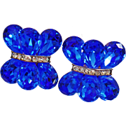 Vintage Blue Sapphire Rhinestone Earrings. Huge Showstopper Sapphire Glass Rhinestone Earrings. Blingy Holiday Earrings.