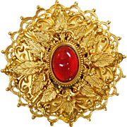 Vintage Extremely Rare Andrew Spingarn Gripoix Brooch. Spingarn New York Carnelian Poured Glass Gripoix Gold Brooch. Layered Gold